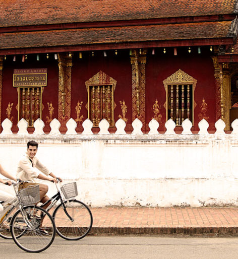cycling to temples in luang parabang